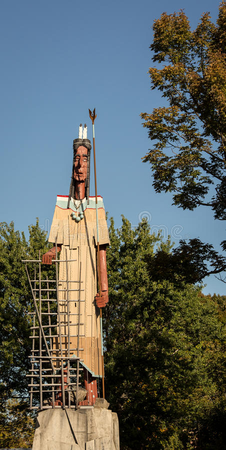Wooden native american. The world's largest wooden native american in maine stock photography