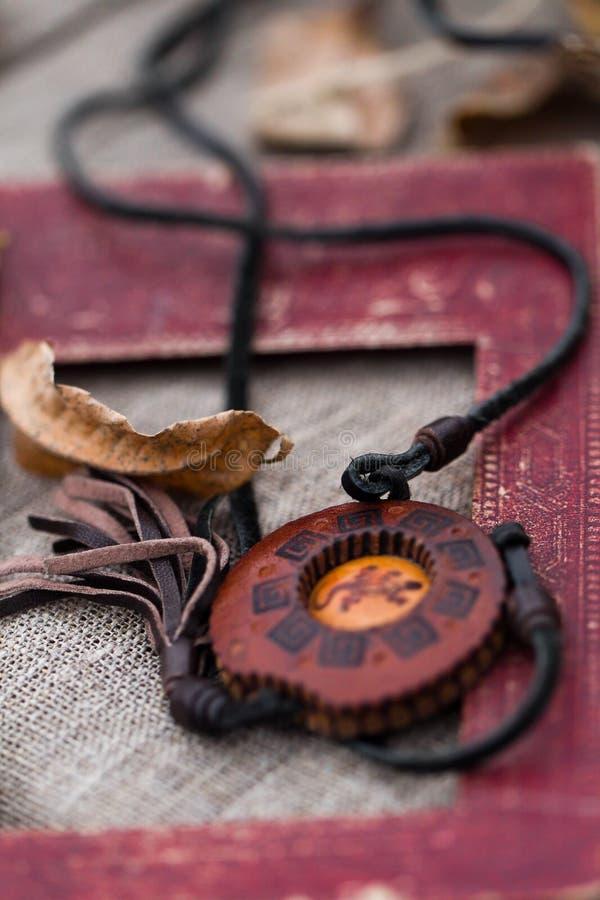 Wooden Necklace Stock Photos