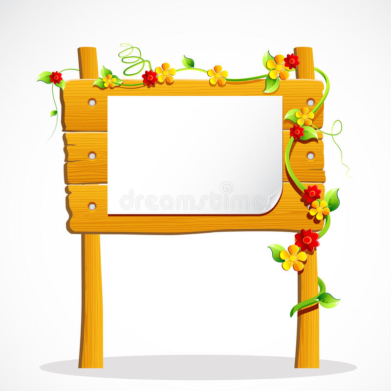 Wooden Notice Board. Illustration of wooden notice board decorated with flower stock illustration
