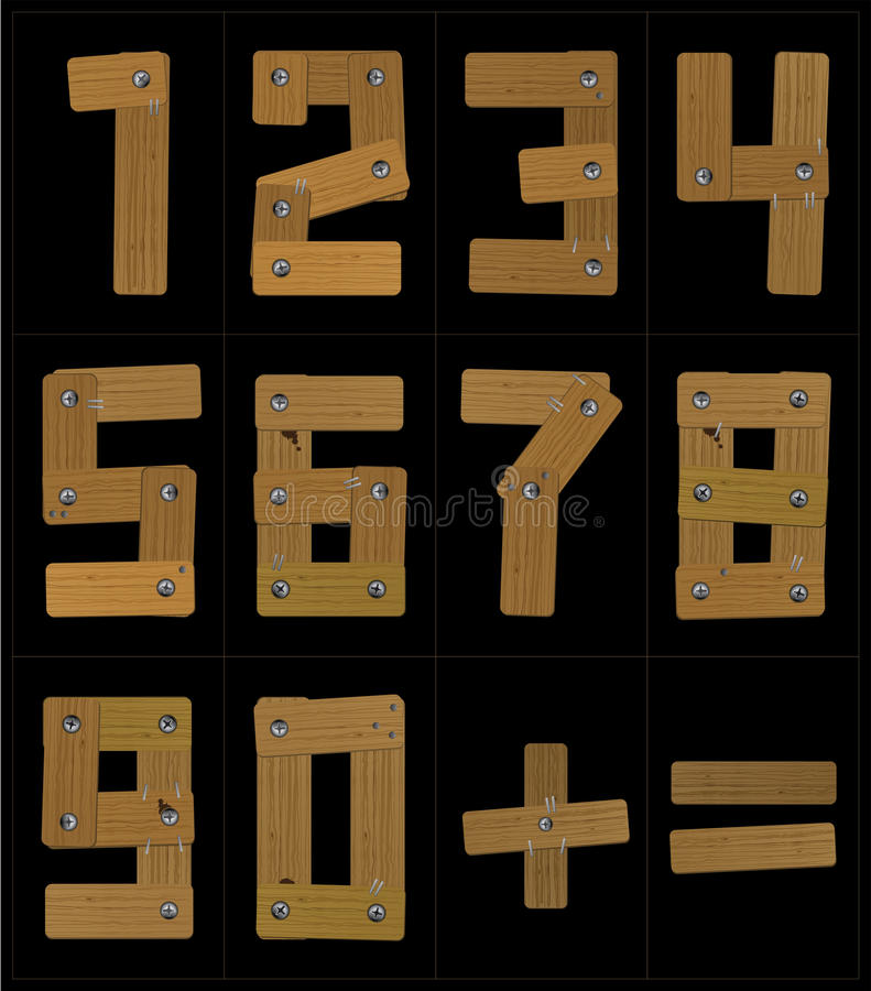 Wooden Numbers royalty free illustration
