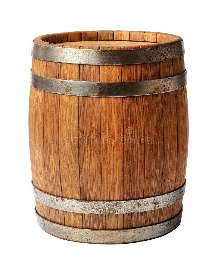 Wooden oak barrel isolated on white background royalty free stock photography