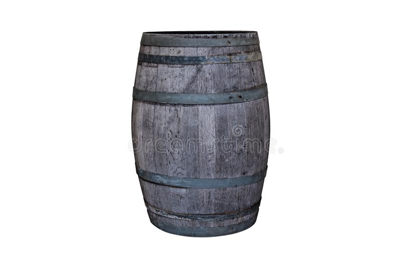 Wooden oak barrel. Old wooden oak barrel isolated on white background stock images