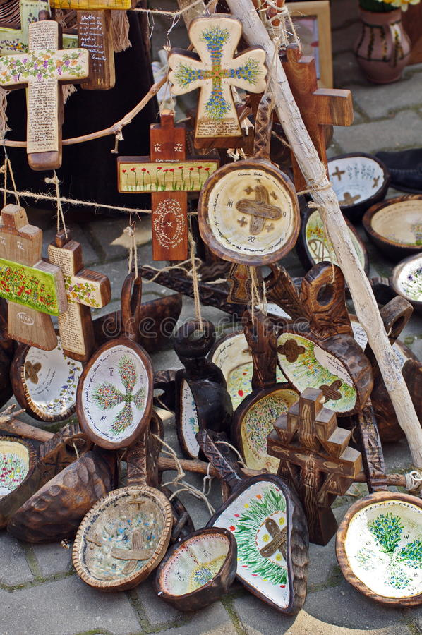 Traditional handmade wooden popular objects (plates and crosses), specific from Romania. Traditional handmade wooden objects (plates and crosses&# stock image