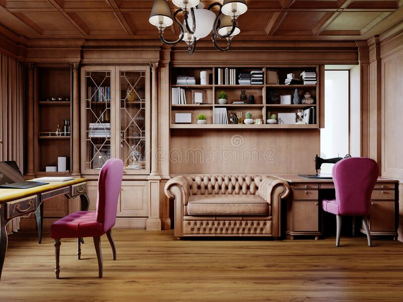 A wooden office cabinet in a classic style with sideboard cabinets with interior decor and a work desk with a soft pink chair. 3D rendering vector illustration