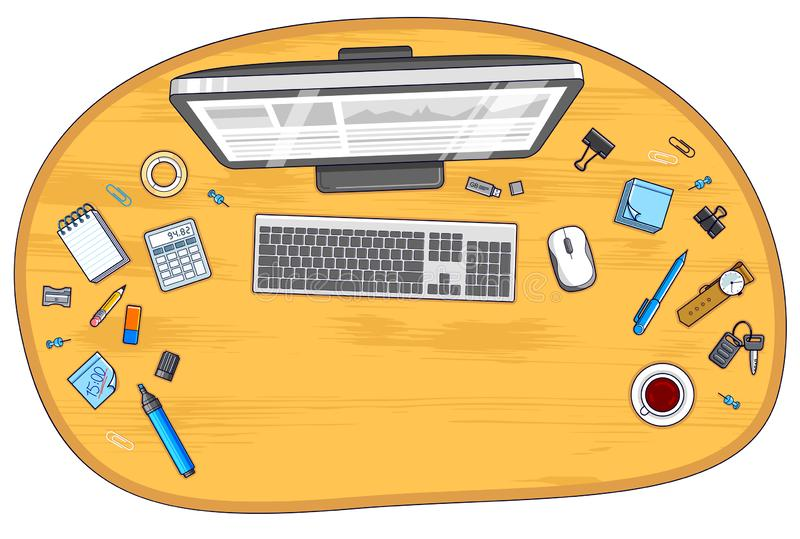 Wooden office employee or entrepreneur work desk workplace with PC computer and diverse stationery objects for work with copy stock illustration