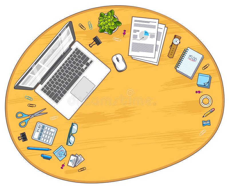 Wooden office employee or entrepreneur work desk workplace with royalty free illustration