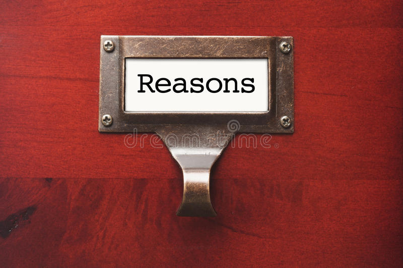 Download Wooden Office File Cabinet With Reasons Label Stock Photo - Image: 23859412