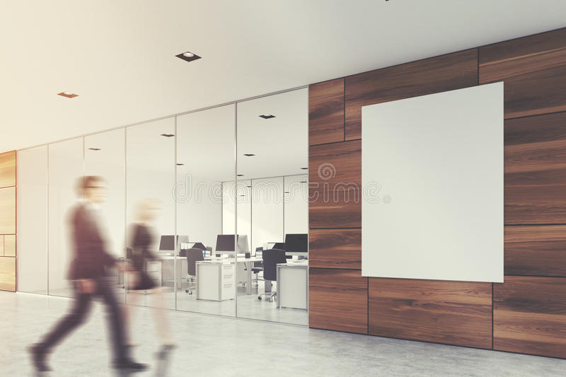 Wooden office lobby with a poster, people. People in a wooden office lobby with a glass wall, a concrete floor, and a large vertical banner in the corner. 3d royalty free stock photos