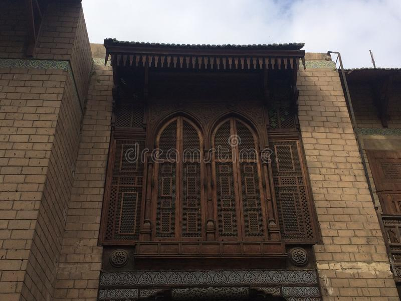 Wooden old balcony in Manial Palace. In manial palace in cairo Egypt stock photos