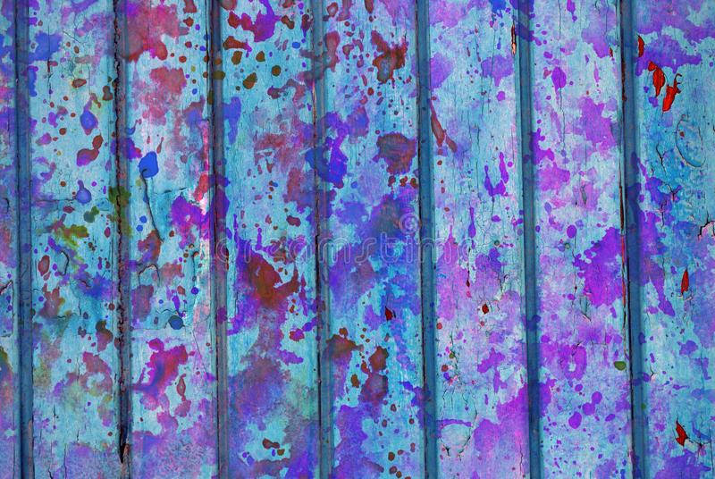 Mixed media artwork, abstract colorful artistic painted layer in light blue, purple color palette on grunge texture planks stock images