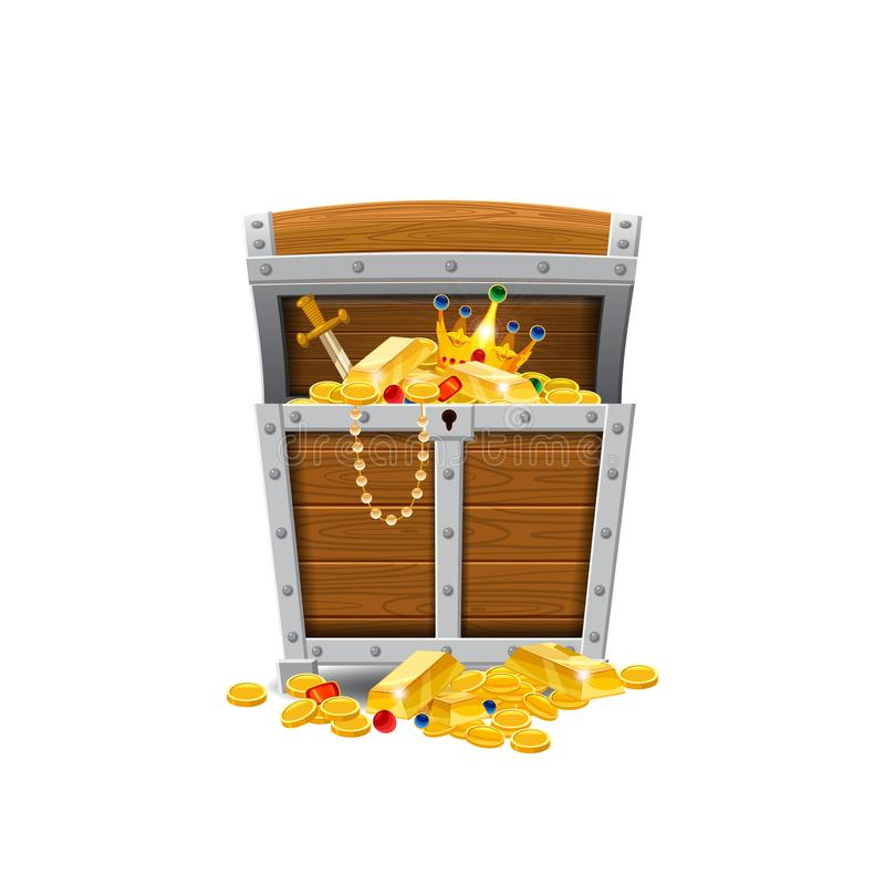 Wooden old pirate chests, full of treasures, gold coins, treasures, vector, cartoon style, illustration, isolated. For stock illustration