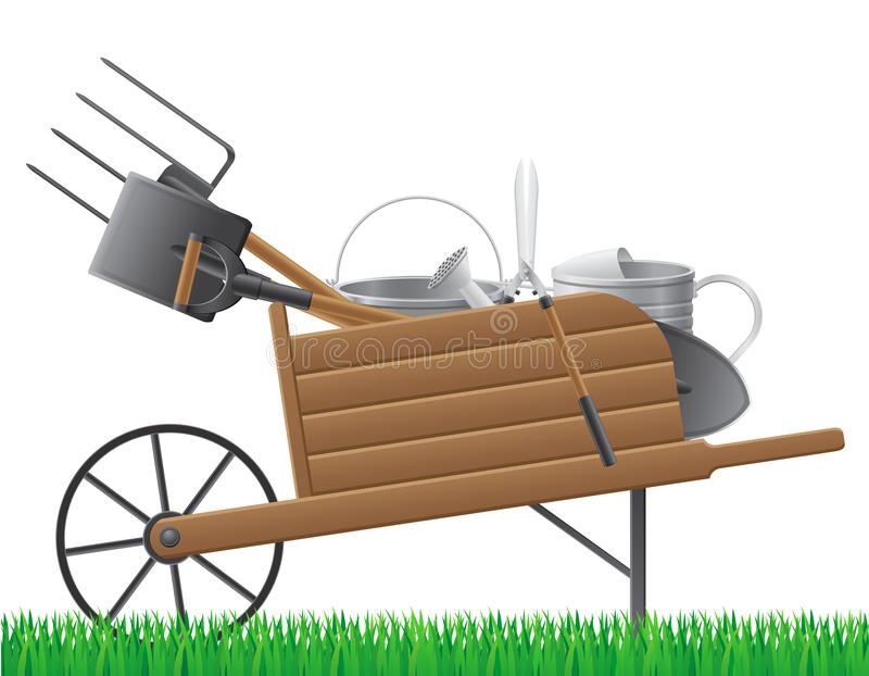 Wooden old retro garden wheelbarrow with tool vect royalty free illustration