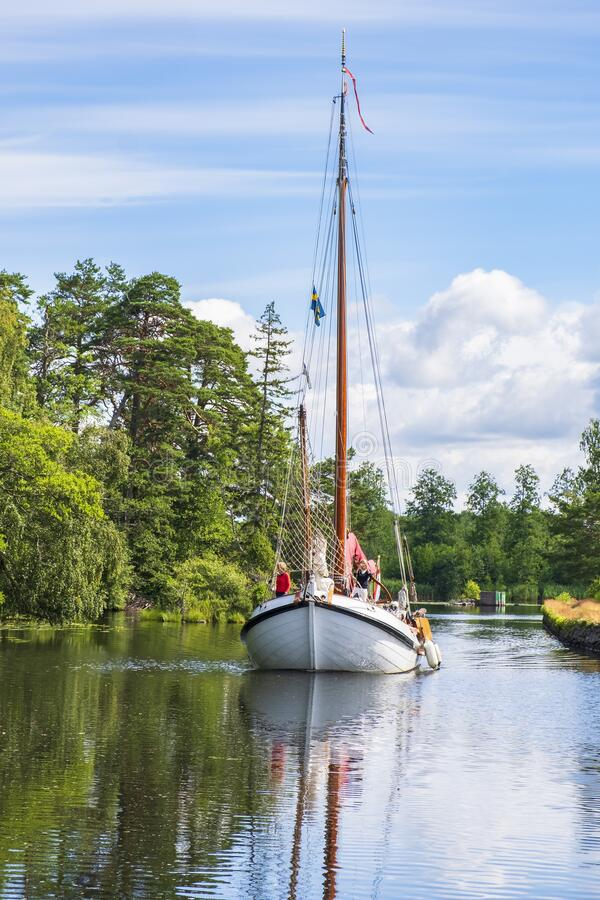 Wooden old sailboat in Göta canal in Sweden stock photography