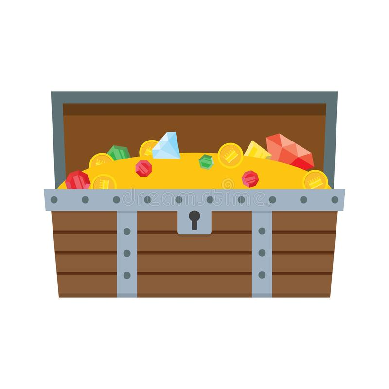 Wooden open treasure chest full of gold and jewels stock illustration