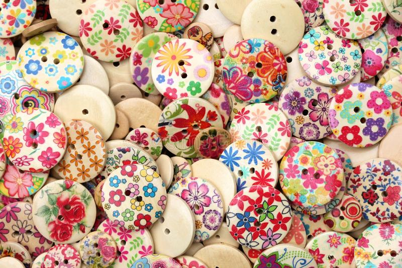 Wooden ornamental buttons stock photo