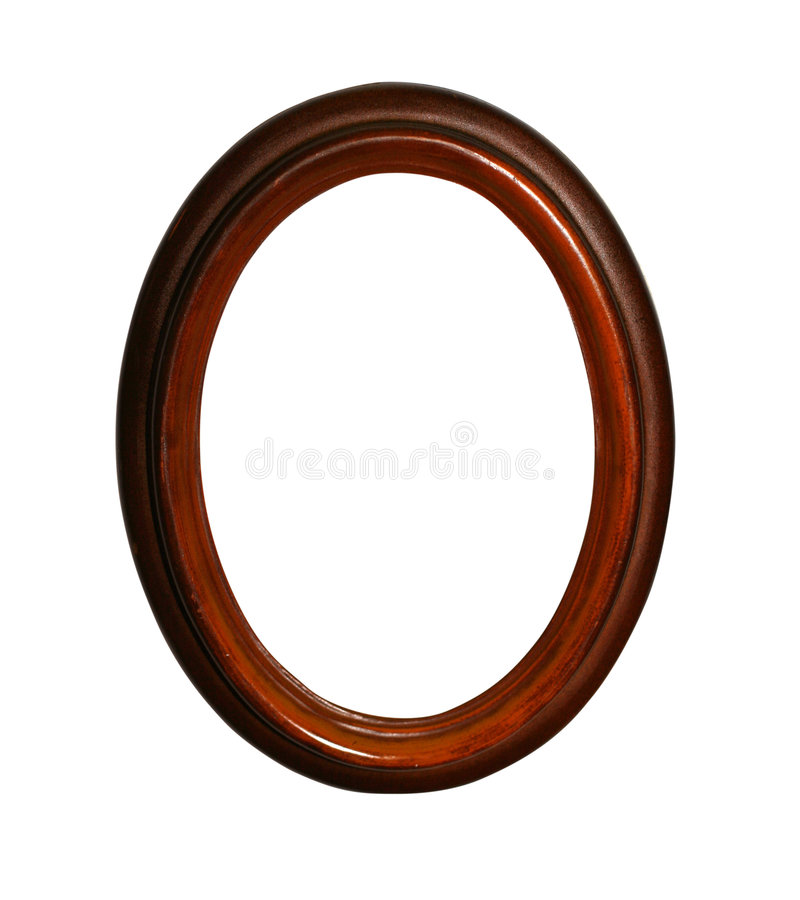 Wooden oval frame with path stock photos