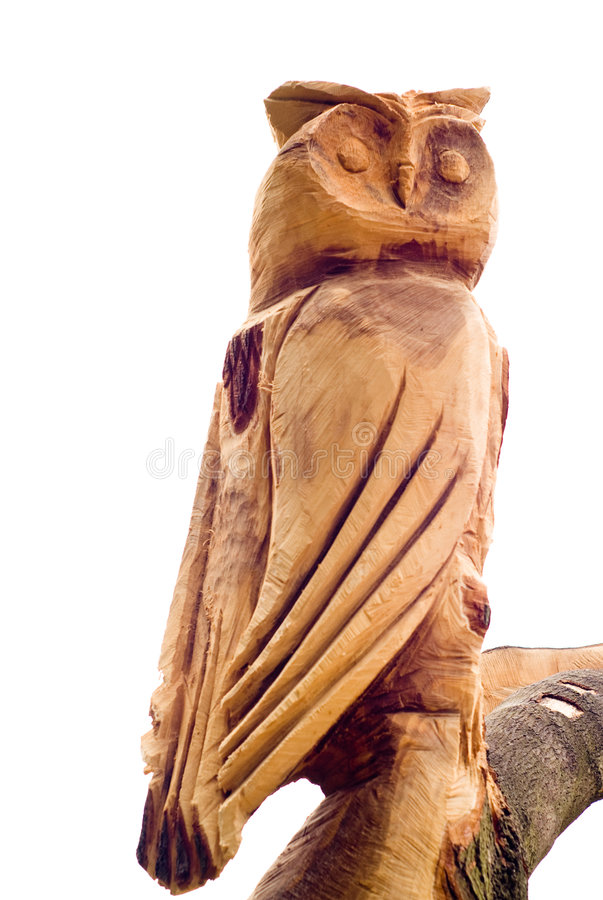 Wooden owl isolated on white royalty free stock images