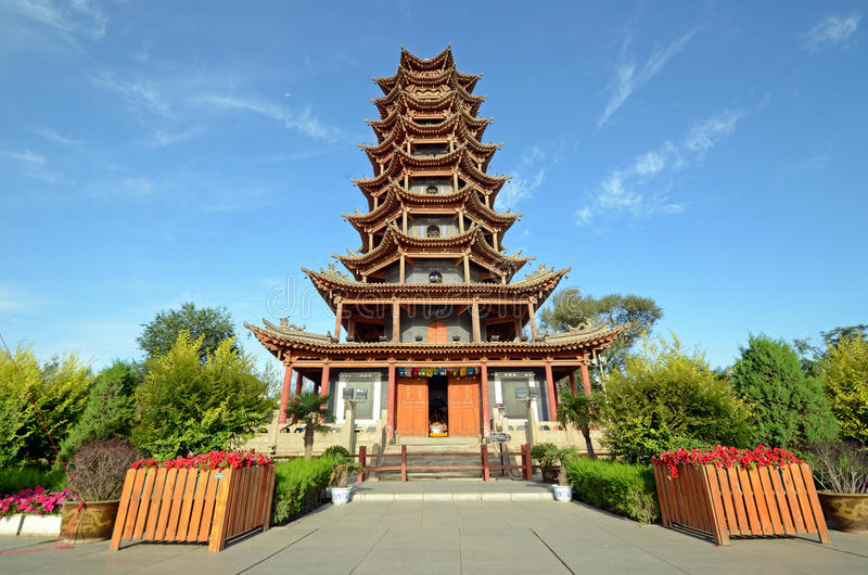Wooden Pagoda Temple. In Zhangye city,China stock photos