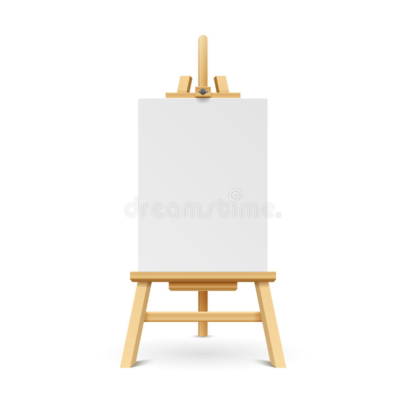 Wooden paint board with white empty paper frame. royalty free illustration