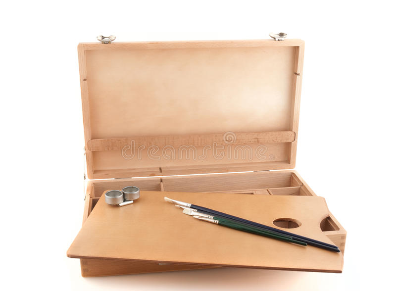 Download Wooden Painter Case With Brushes Stock Photo - Image: 15412290