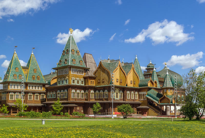 Wooden palace in Kolomenskoye, Moscow stock photo