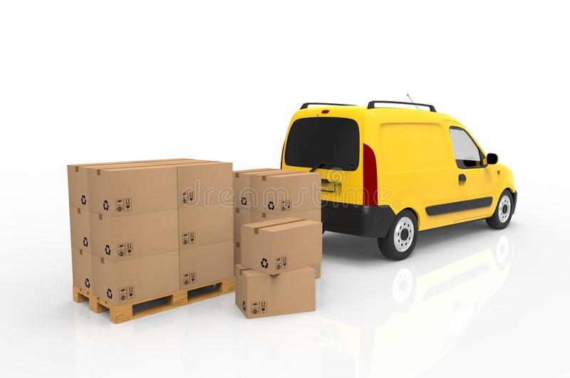 Wooden palette with cardboard boxes and yellow van on white background. 3D illustration. vector illustration