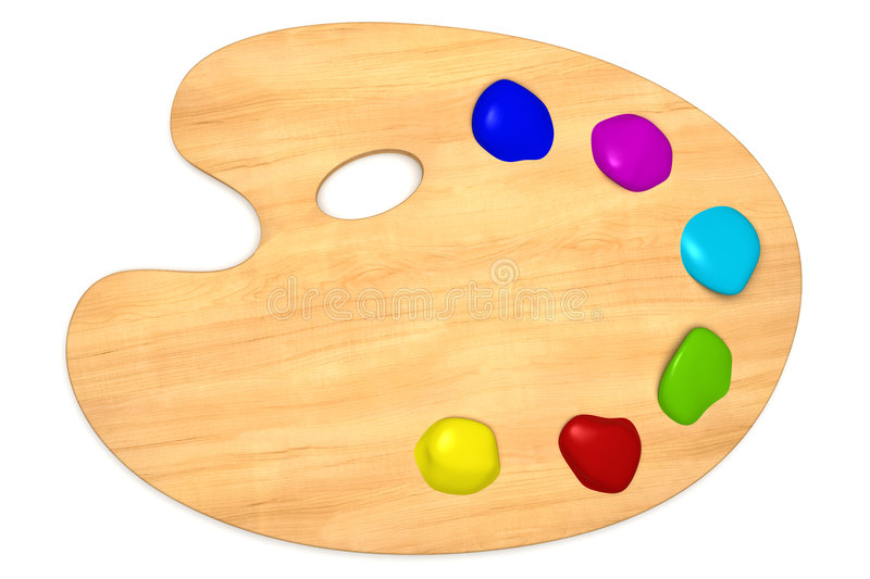 Wooden palette with color paint isolated on white stock - Palette dessin ...