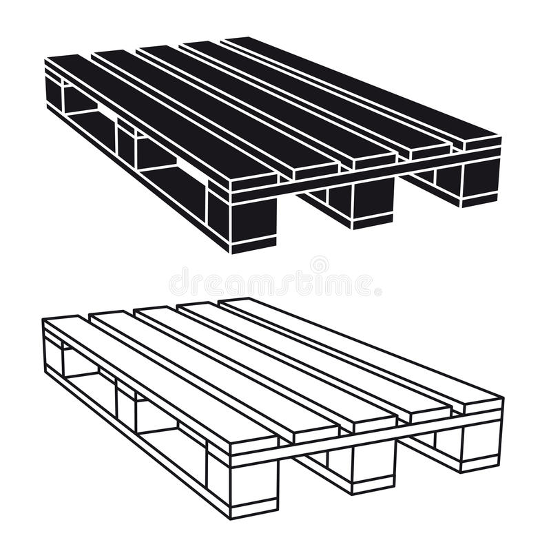 Wooden pallet black symbol stock vector. Illustration of ...