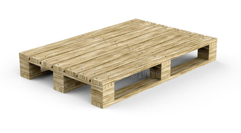 Wooden pallet for cargo on a white background. 3D illustration. royalty free illustration