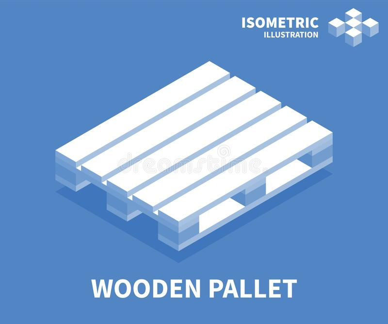 Wooden pallet icon. Isometric template for web design in flat 3D style. Vector illustration stock illustration
