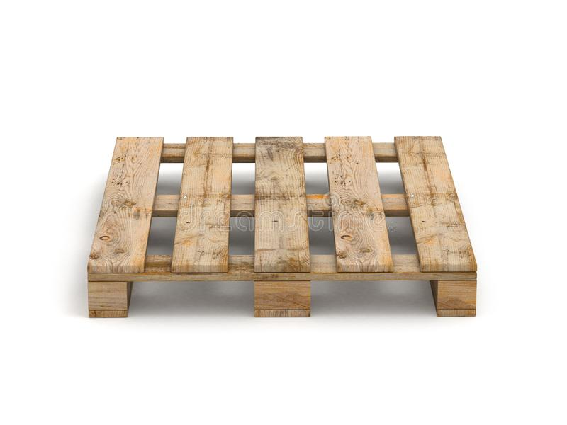 Wooden pallet. Isolated on white..3D illustration royalty free illustration
