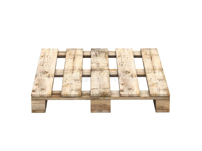 Wooden pallet isolated on white front view without shadow 3D vector illustration