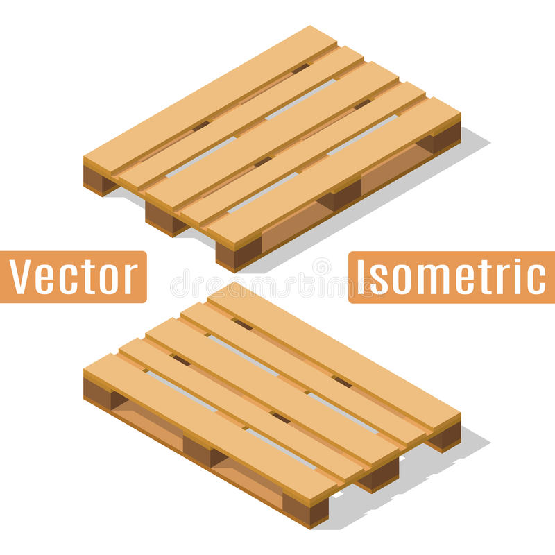 Wooden pallet isometric royalty free illustration