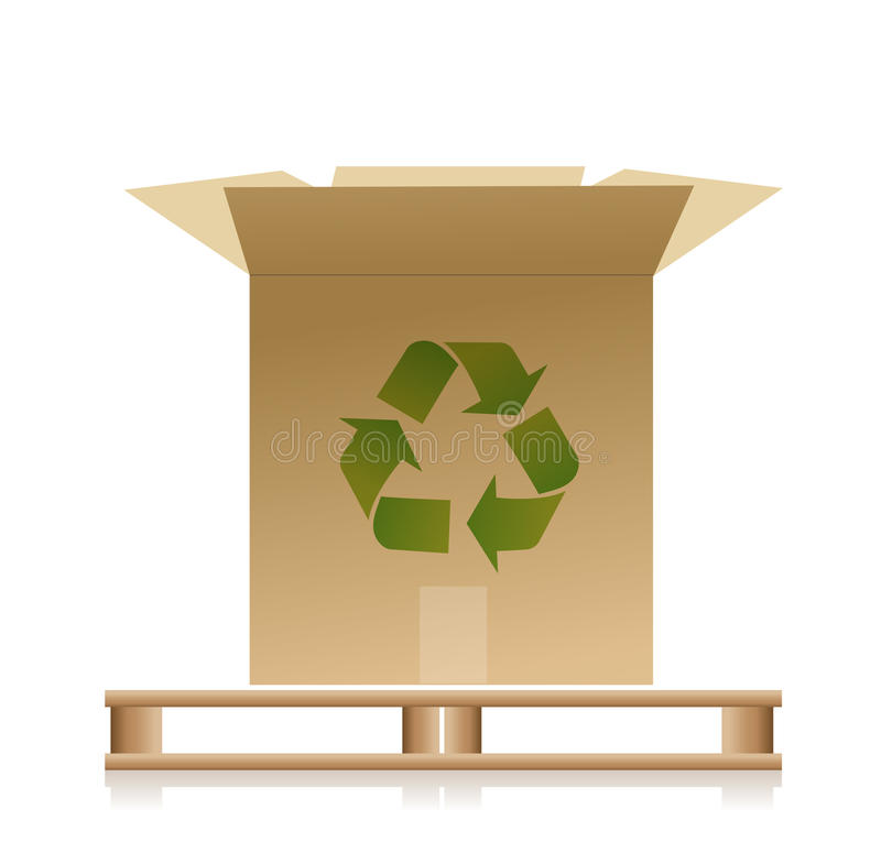 Download Wooden Pallet With A Recycle Box Illustration Stock Illustration - Illustration: 28982474
