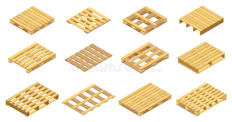 Set Of Icons, Wooden Pallet Isolated On White Stock ...