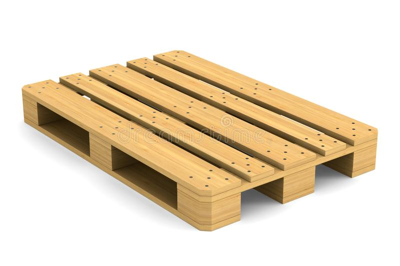 Wooden pallet on white background. Isolated 3D illustration royalty free illustration
