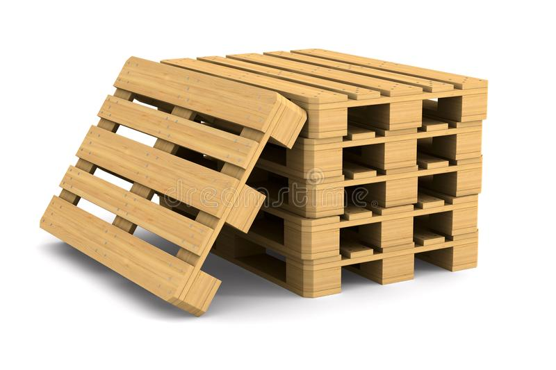 Wooden pallet on white background. Isolated 3D illustration stock illustration