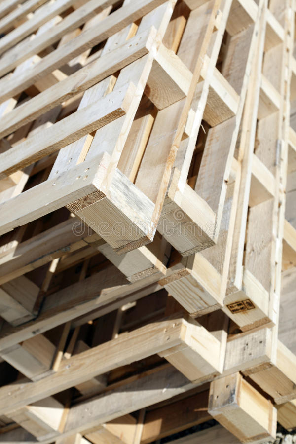 Wooden pallets. A stack of wooden pallets royalty free stock photo