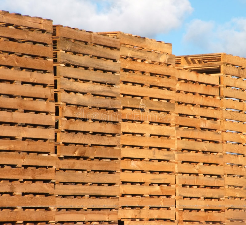 Wooden pallets. Recycled wooden pallets stock image