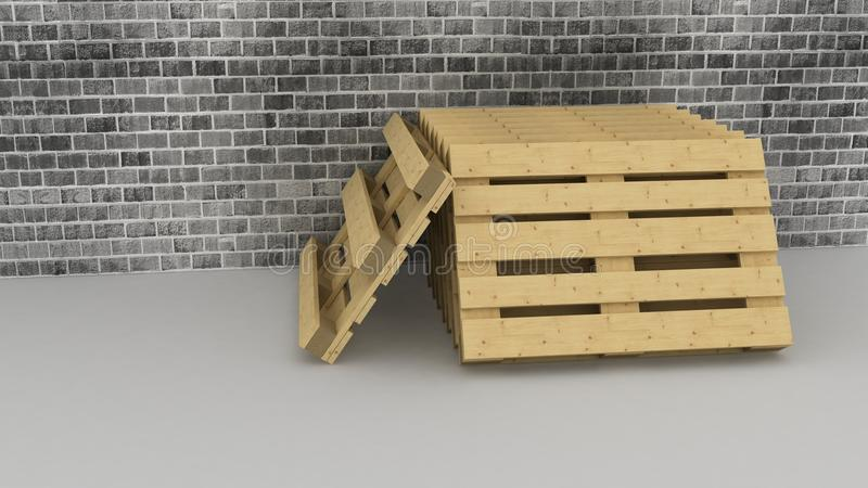 Download Wooden  Pallets On Brick Wall Background Stock Illustration - Illustration: 36375274