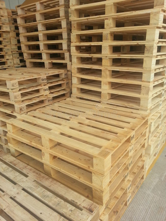 Wooden pallets. For packing in factory stock image