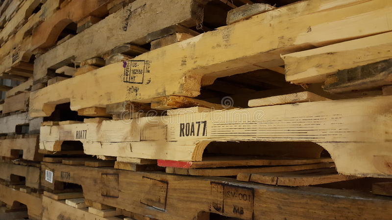 Wooden pallets. Stack of wooden pallets royalty free stock photo
