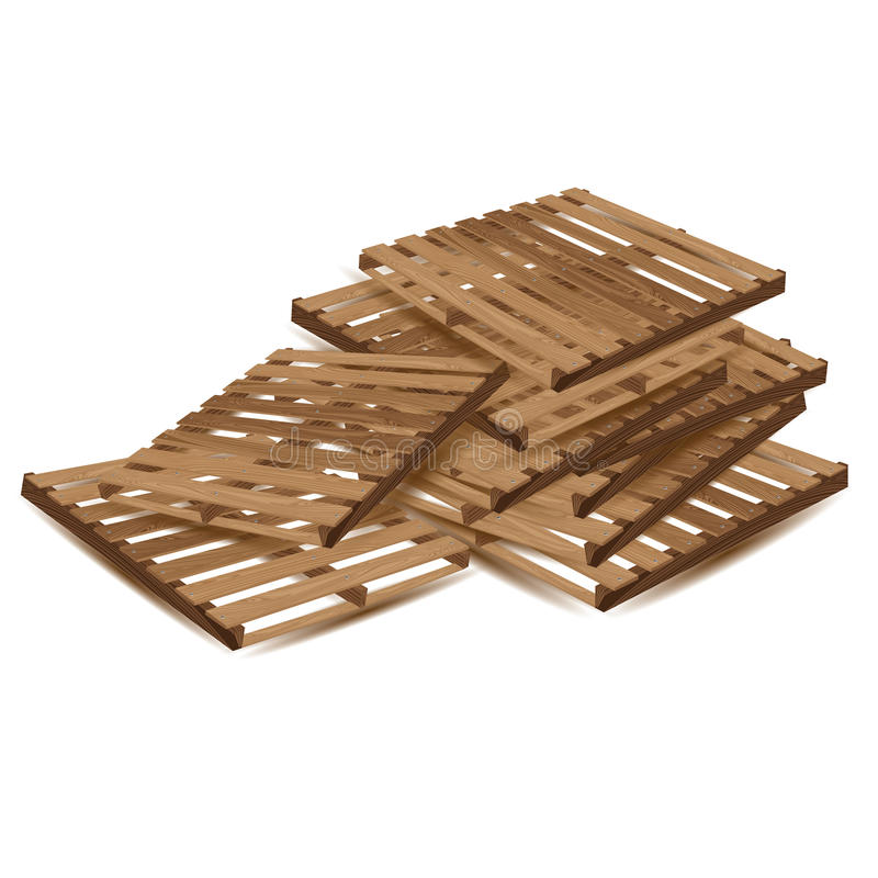 Wooden pallets to transport and freight transport isolated on white background. Wooden pallets in perspective. royalty free illustration
