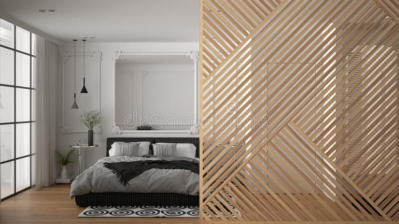 Wooden panel close-up, classic luxury bedroom with double bed, mirror, parquet floor. Classic zen interior design concept idea,. Contemporary architecture vector illustration