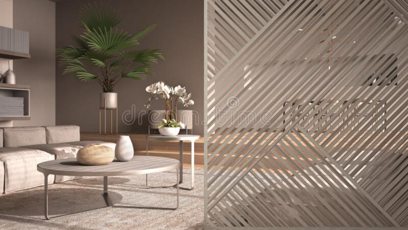 Wooden Panel Close Up Elegant Living Room With Sofa Lounge Carpet Side Tables And Dining Room Minimalist Zen Interior Design Stock Photo Image Of Property Design 177943130