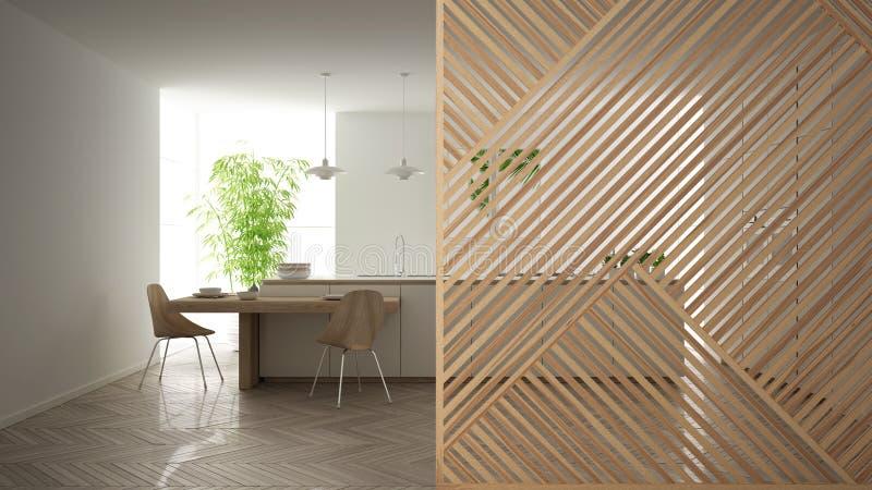 Wooden panel close-up, modern white kitchen with island and stools, marble floor. Minimalist zen interior design concept idea, vector illustration