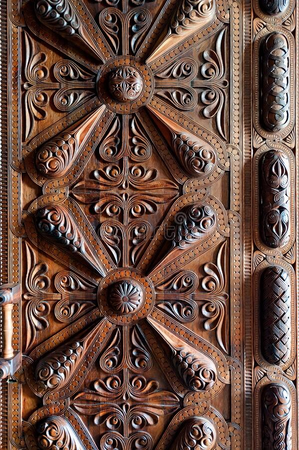 Wooden panel with ornate texture. Closeup royalty free stock images