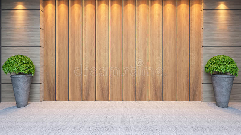 Wooden panel wall decor design. Modern wooden panel wall decor design idea with plant and carpet 3d rendering royalty free stock photography