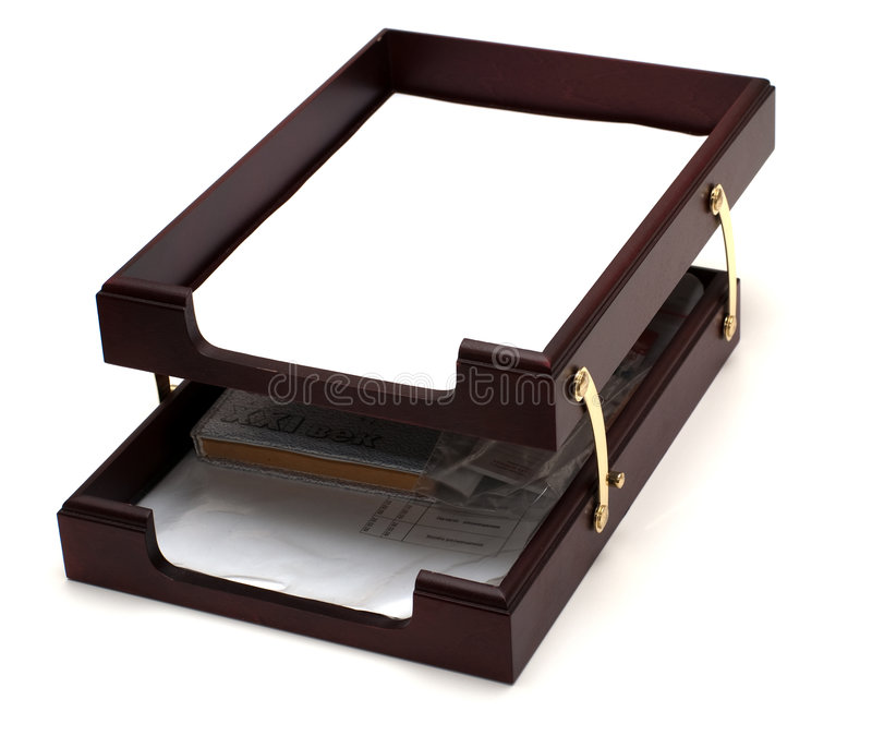 Wooden paper tray stock image