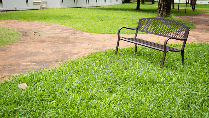 wooden park bench at the public park image stock photography